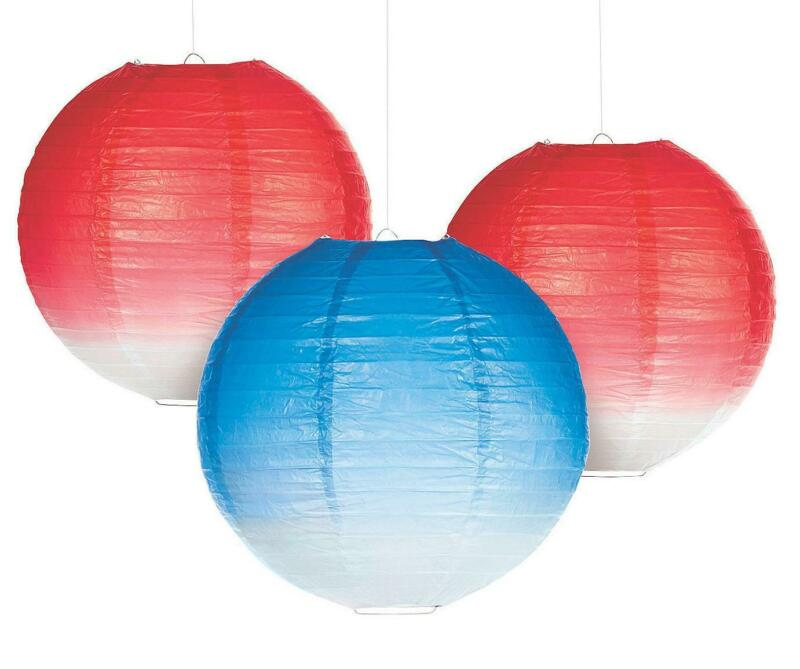 """Set of 6 Hanging Paper Lanterns Patriotic Red & Blue Fading to White Colors 12""""D"""