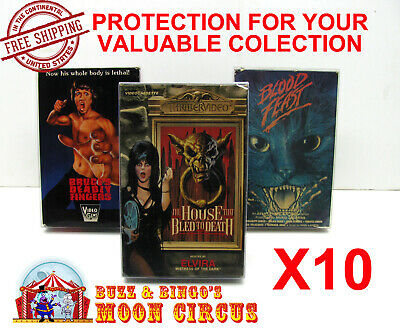 10x VHS MOVIE CARDBOARD BIG BOX (SIZE D) CLEAR PLASTIC PROTECTIVE BOX PROTECTORS