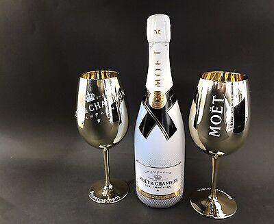 Moet Chandon Ice Imperial Champagner 0,75l 12% Vol + 2 Imperial Gold Glas Gläser