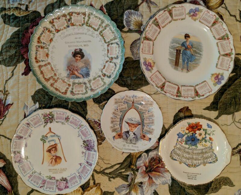 5 Antique Calendar Plates 1909 1910 1929