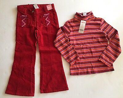 NWT Gymboree Peruvian Doll Sz 6 Pink Stripe Turtleneck Top & Red Corduroy Pants