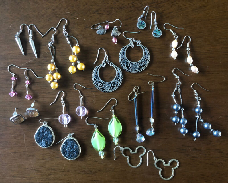 Pierced Earrings Preowned 14 Pair Lot Resell Or Wear Mickey Mouse And More