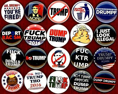 "Anti Trump 20 NEW 1"" inch pins badge button dump Donald 2016 STOP DONT"