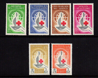 1963 French Colonies RED CROSS CENTENARY Issues MNH + New Hebrides