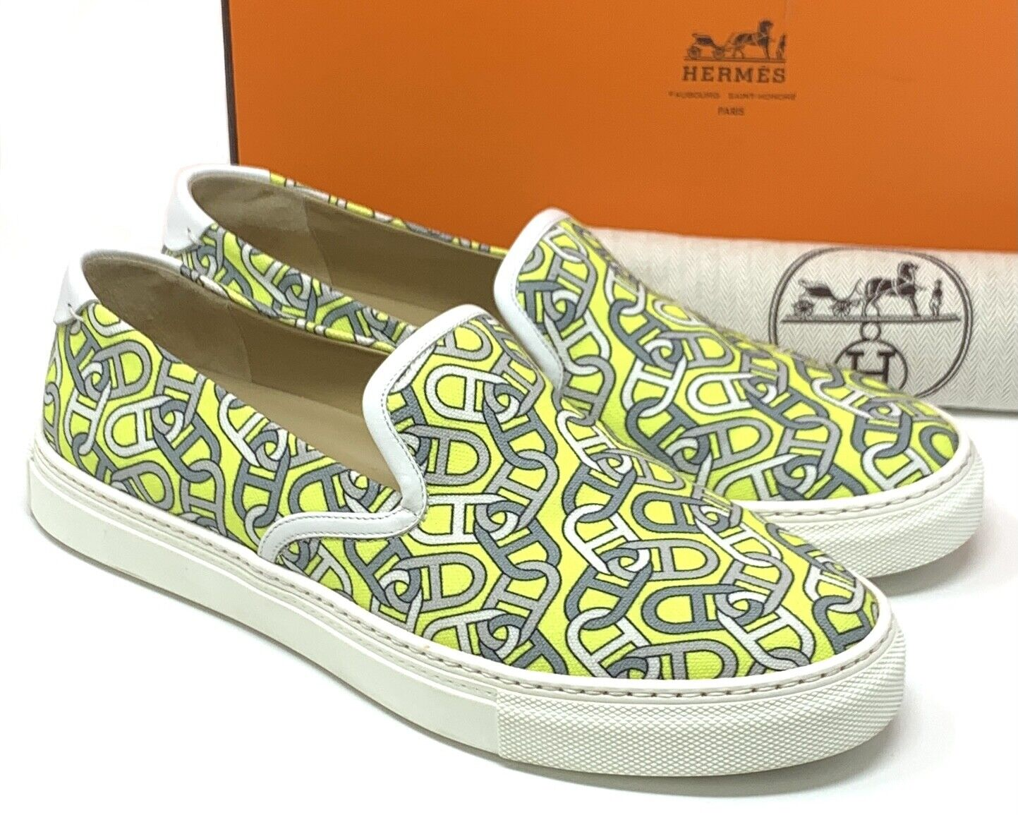 Authentique hermes chaine d ancre slip-on chaussures baskets #41 us 8 vert rank