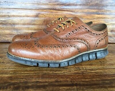 Men's Cole Haan ZeroGrand Brown Leather Wingtip Fashion Sneakers 9.5 M