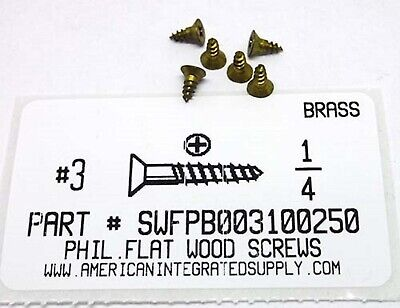 3x14 Flat Head Phillips Wood Screws Solid Brass 50