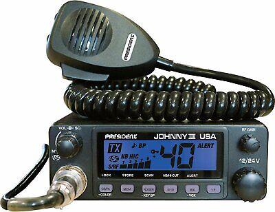 President Johnny III USA 40 Channel CB Radio 12 or 24V, Blac