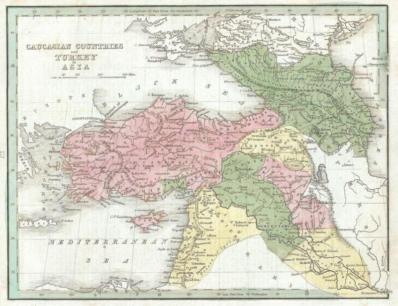 1835 Bradford Map of Turkey in Asia