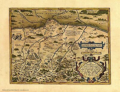 Bavaria in 1570 - reproduction of an old  map by Abraham Ortelius