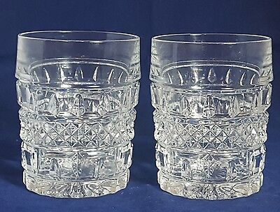 Beautiful Pair of Vintage Heavy Cut Glass Crystal  Whiskey Tumblers.