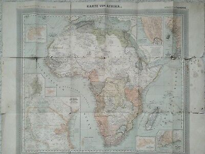 Karte von Afrika 1:17,5mio historisch Carl Flemmings Generalkarte F.Handtke