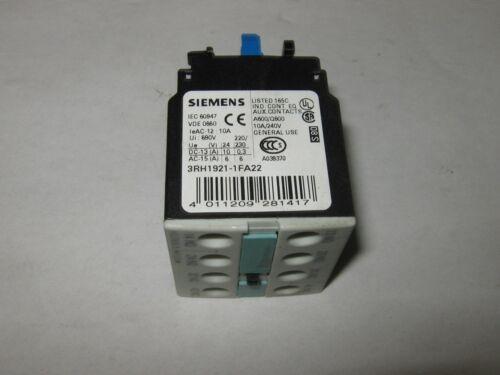 Siemens 3RH1921-1FA22 Auxiliary Contact Block, Used