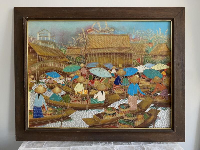 VTG Original Manoon Thailand Engraved Board Gold Gilded Asian Art Picture Framed