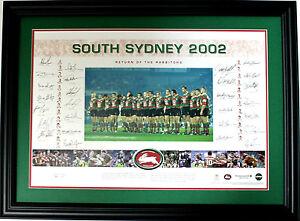 New 2002 South Sydney Rabbitohs Squad Hand Signed Limited Edition Memorabilia