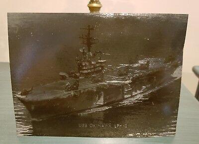 USS Okinawa LPH-3 Metal Printing Plate - US Navy -  Original War Era Plate