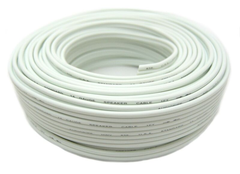 14 Gauge 100 Feet White Speaker Wire Zip Cable Copper Clad Car Stereo Audiopipe