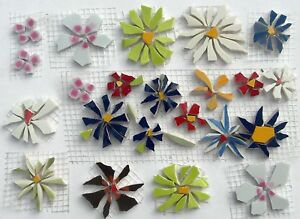 Broken Cut China Plate Mosaic Tile, 22 Blue, Red, Yellow Small Flower