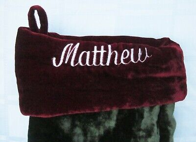 POTTERY BARN MATTHEW Personalized CHRISTMAS STOCKING PLUSH VELVET 23 inches long - Personalized Velvet Christmas Stockings