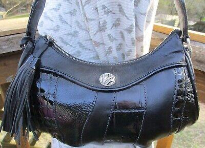 BRIGHTON New Black Leather Small Tassel Hobo Shoulder Bag Purse