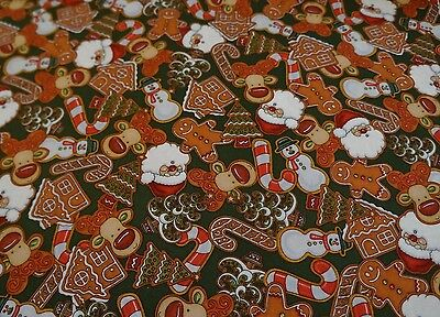 CHRISTMAS COOKIES ON GREEN 100% Cotton Quilt Fabric *by the 1/2 yard* - Green Cookies
