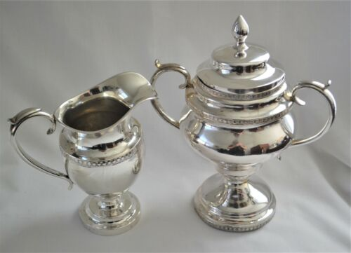 Antique Hand-Wrought American Coin Silver Sugar Bowl and Cream Jug