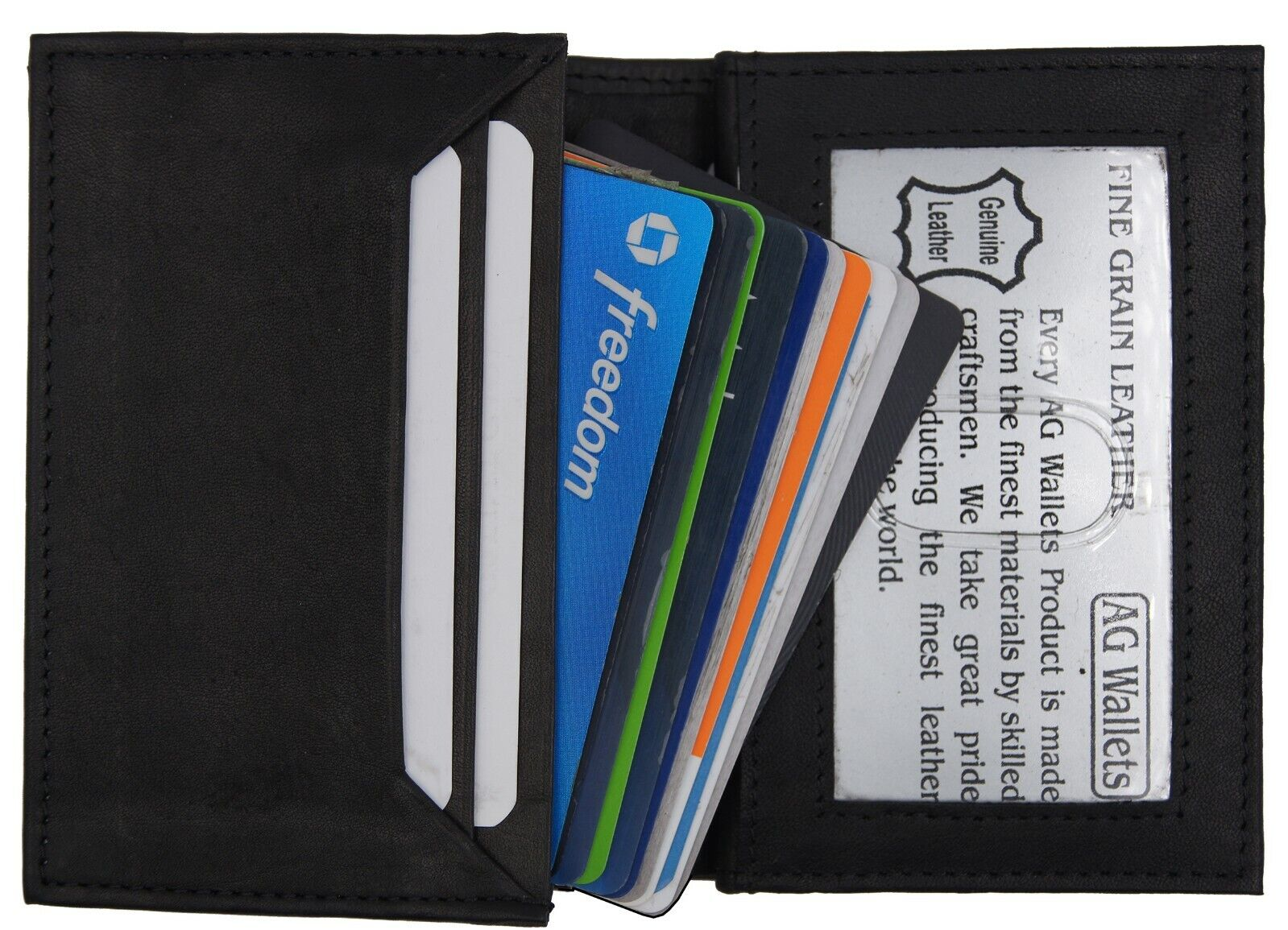 Mens Expandable Leather Credit Business Card Holder front