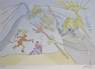 """SALVADOR DALI """" The Elephant and the Monkey """" HAND SIGNED  121/250 Orig. Etching"""