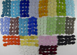 1-Strand-of-Frosted-Matte-Freeform-Beach-Sea-Glass-Beads-You-Pick-The-Color