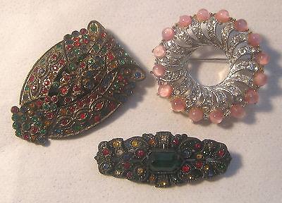 3 Victorian Art Deco Rhinestones Dress Clip - Pot Metal Bar Pin – Pink Moonglow