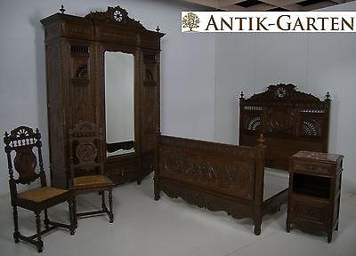 ANTIK! Bretonisches Schlafzimmer komplett um 1900 Frankreich Kastanie massiv