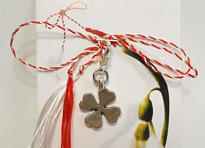 Martisor, Märzchen, Charm, Anhänger als Kleeblatt aus Metall, handmade, Handarbe