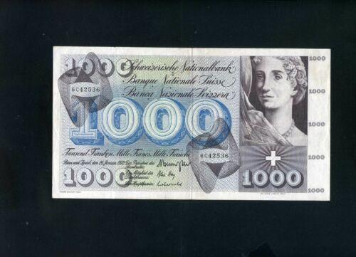 Switzerland Swiss 1000 franken francs 1972 - VF+