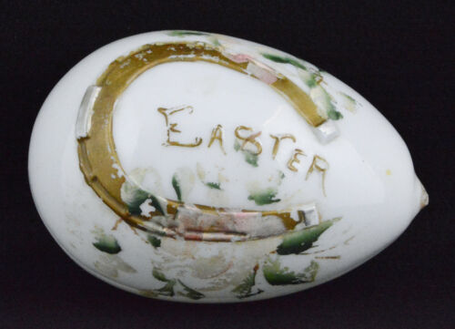 """Vintage Large Hand Blown & Hand Painted White Glass Easter Egg (6 1/4"""" Long)"""