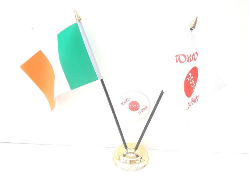 Ireland & Tokyo Japan Olympics 2020 Desk Flags & 59mm BadgeSet