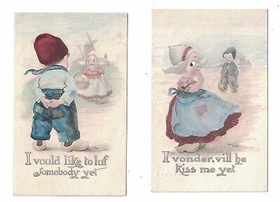 2 Dutch Children A/S Bernhardt Wall Postcards 1912