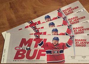 4 billets 31 janvier Montreal vs Buffalo