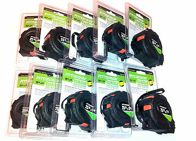 "Lot of 10 - 25 ft. x 1"" Quick Find Easy to Read Tape Measures, NEW"