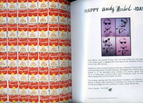 RARE  ANDY WARHOL 2006 BARNEYS NEW YORK LEGENDARY  CLOTHING STORE CATALOGUE