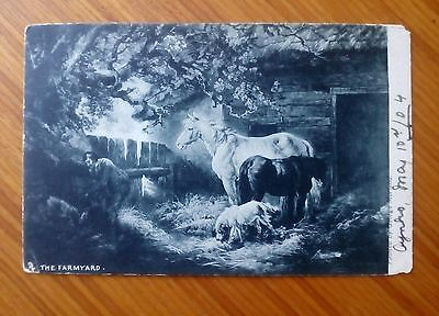 "The Farmyard 1904. Raphael Tuck & Sons ""Art"" Series 1428 Horses Dog & Farm boy."