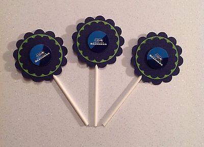 Nfl Seattle Seahawks Cupcake Toppers Birthday Anniv Party Supplies Handmade - Seahawks Birthday