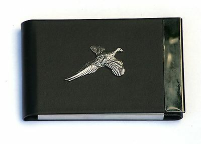 Pheasant Design Black Pu And Metal Business Or Credit Card Holder Gift 268