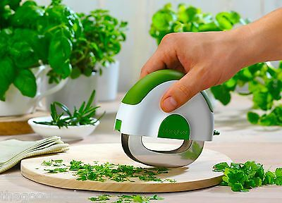 Microplane Mezzaluna Herb & Salad Chopper Slicer Knife Double Chopping Blade New