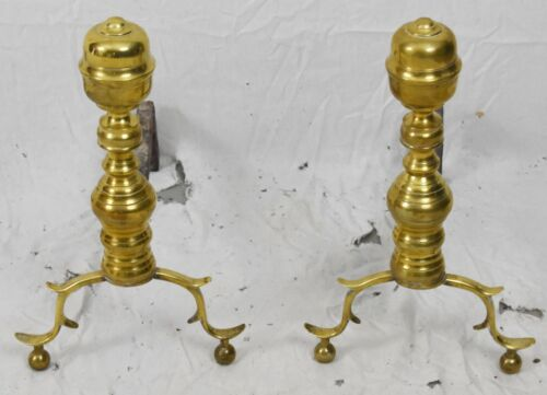 Antique Solid Brass Fireplace Federal Style Andirons Metropolitan Museum of Art
