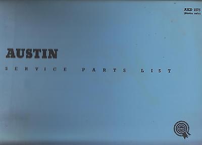 AUSTIN METROPOLITAN SERIES IV ( 1959 - 1961 ) ORIGINAL FACTORY PARTS CATALOGUE