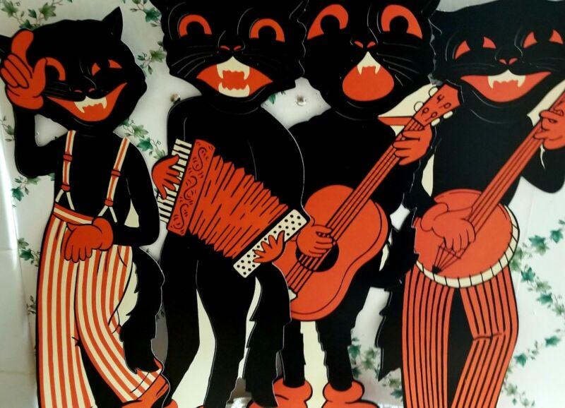 REPRO VINTAGE BEISTLE HALLOWEEN BLACK SCAT CAT BAND! REPRO 1941 DESIGN 4CUTOUTS!