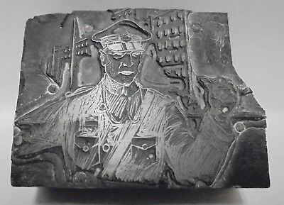 Vintage Letterpress Printing Block Cut Police Officer Working The Streets