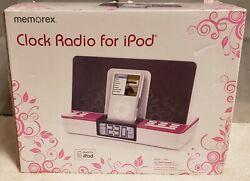 Memorex Clock Radio for iPod w/Docking&Charging dual alarm input jack MP3 player