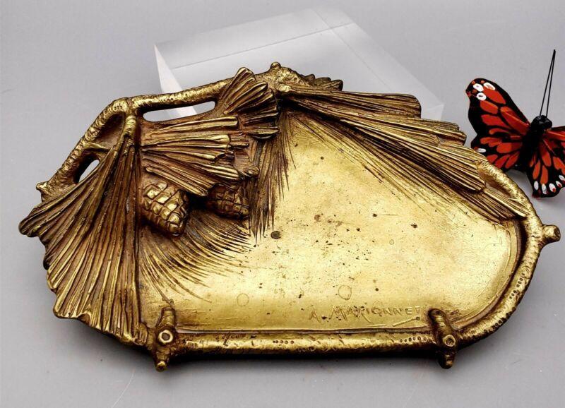 Albert Marionnet Art Nouveau Vide Poche Card Dish Guilt Bronze