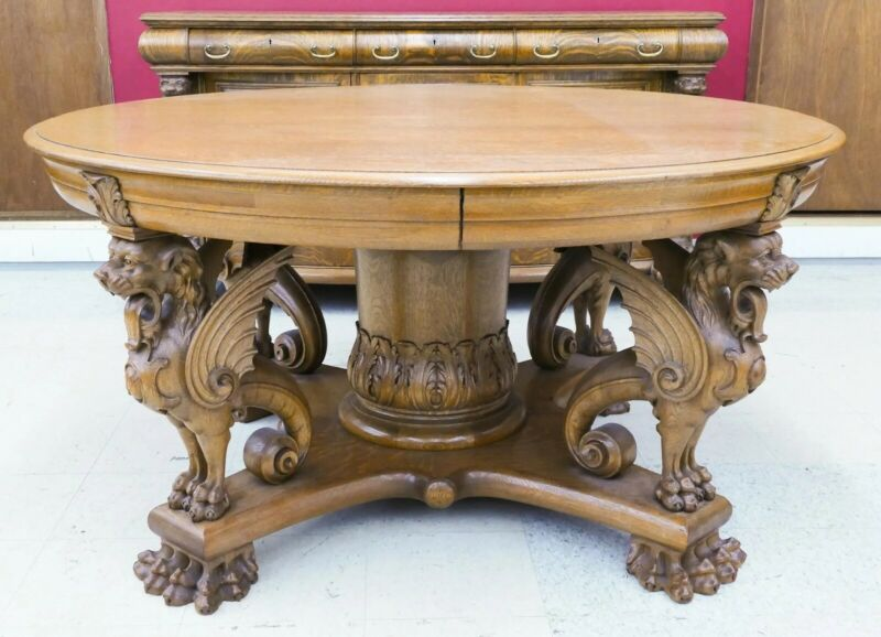 American AJ Johnson Oak Carved Griffin Dinning Table Horner